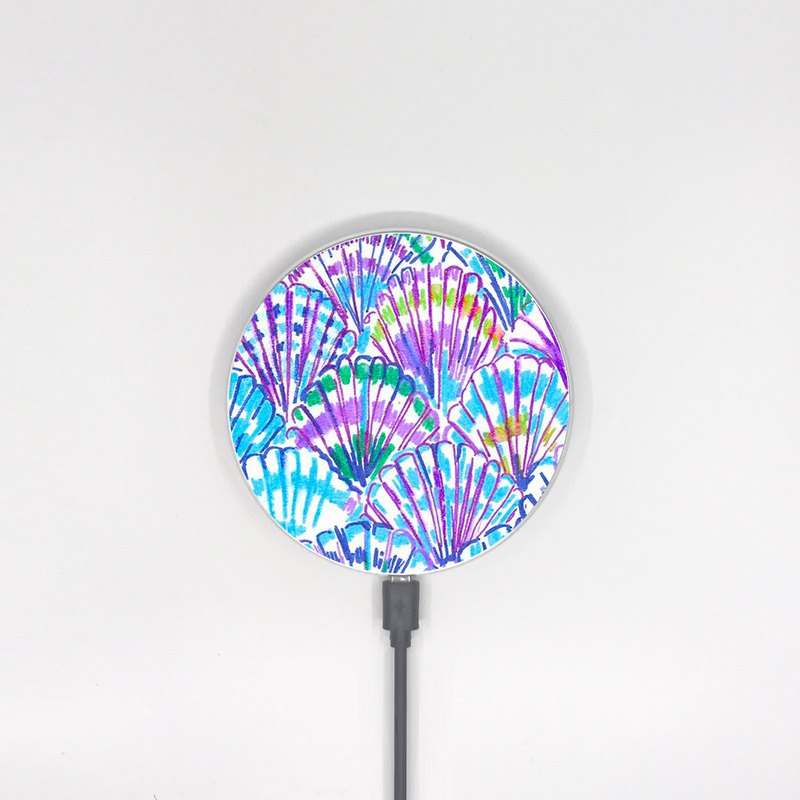 Watercolor Seashell Blue qi Wireless Charger for iPhone Samsung Model -001