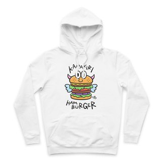 HAMBURGER- White - Hooded T-Shirt