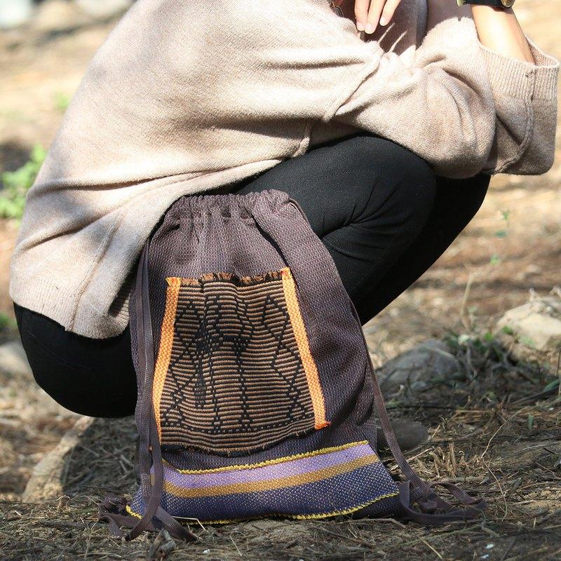 棕色系束口後背包