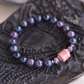 Deep purple blue line stone*rose stone*lithium mica sterling silver bracelet