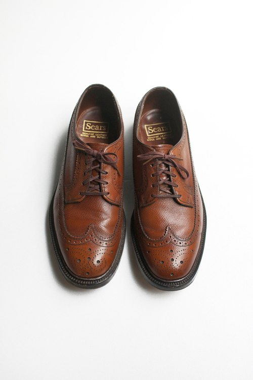 80s American Heart Carving Shoes Sears Wingtip Blucher US 8.5D EUR 41