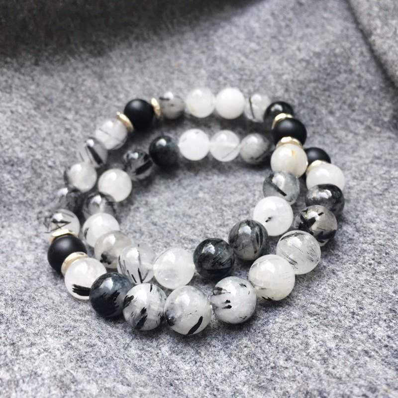Clear sky :: double circle Natural Stone - 925 Silver / Black Crystal / charismatic stone / birthday gift / bracelet bracelet gift custom designs