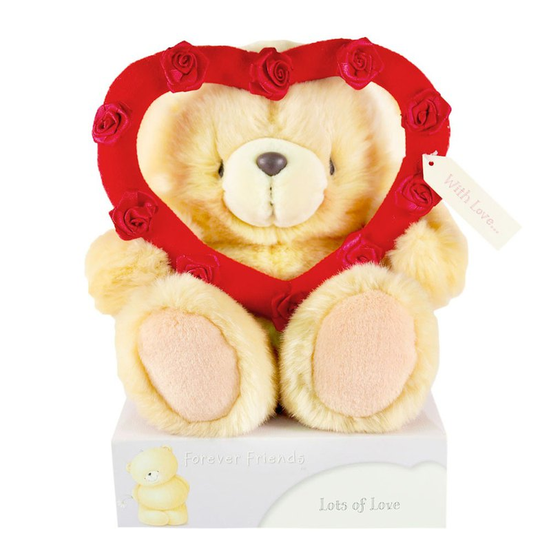 8 inch / heart-shaped box fur bear [Hallmark-ForeverFriends fluff - Valentine Series]