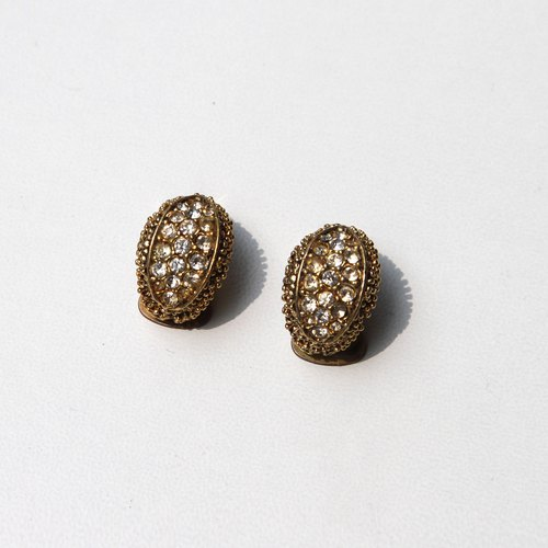 [Egg Plant Vintage] Showa Vintage Clip Rhinestone Antique Earrings