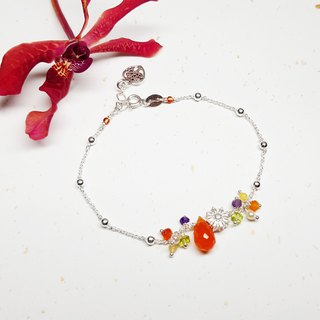 Elegant Chick Collection ~ Orange Agate Silver Bracelet Orange Agate