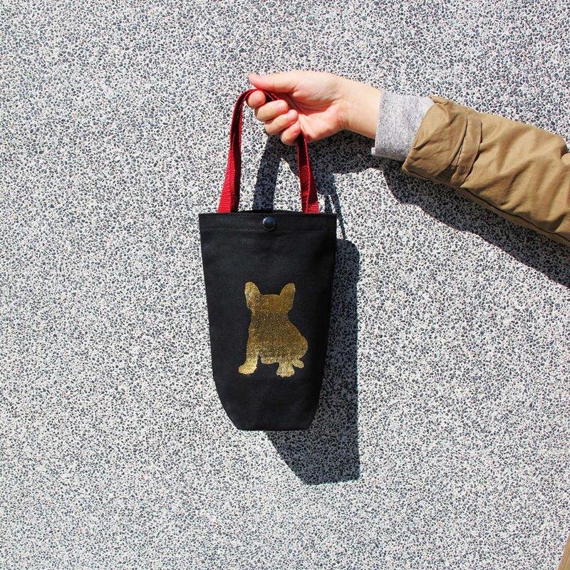 燙金法鬥帆布環保飲料提袋 水壺袋-單杯款