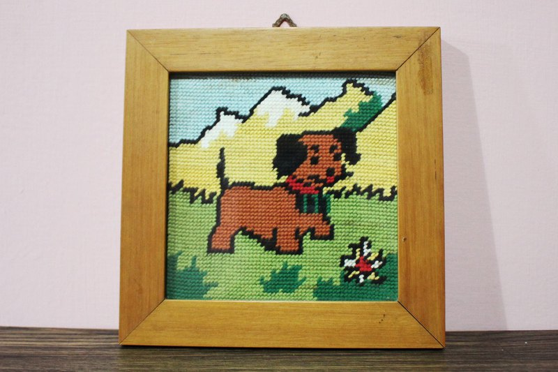 Fairy Farm Factory (Italy Brings Back) European Antique Hand-Knitting Childlike Woods Puppy Wood Frame Square Ornaments (Birthday Present/Valentine's Day Gift)