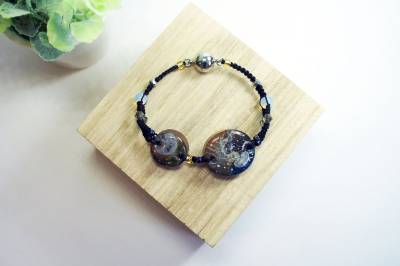 Hand-painted moon jellyfish (moon & jellyfish) moon stone hand rope