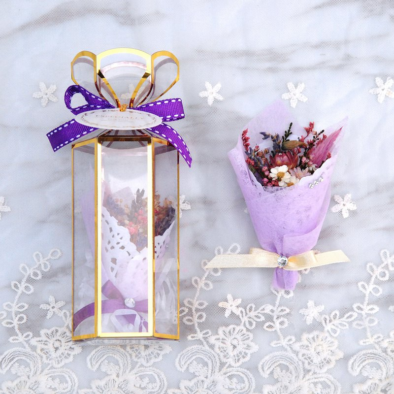 Mini Dry Bouquet Gift Box - Purple Gas Donglai (Small) with card