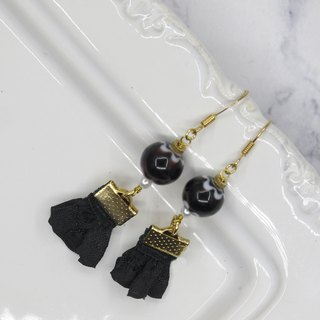 Black Satin Handmade Glass Earrings
