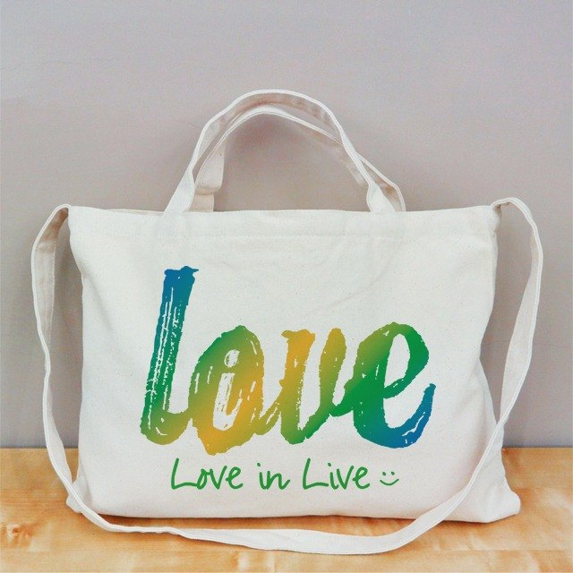 [Valentine's Day] Love Live (Green) Cultural & Creative wind horizontal canvas bag