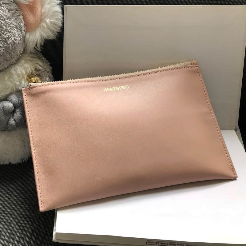 Imported Italian Nappa Leather Small Pink Pouch