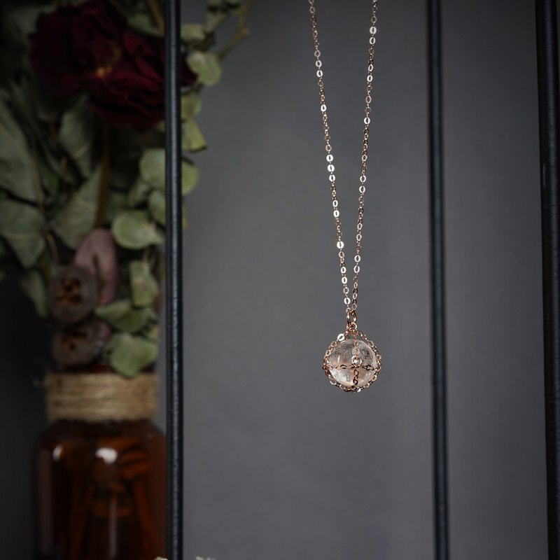 【Little Sphere】Quartz Necklace / Rose Gold Necklace
