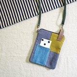 E*group 方塊拼布小物包 水洗帆布 灰藍系 手機包 護照包
