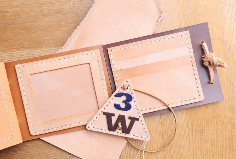 【3W short clip material package series-3 card bits photos short clip】 Good sewing leather bag free lettering handbag couple silver wallet short wallets short fiscal Italian leather vegetable tanned leather DIY companion slim leather
