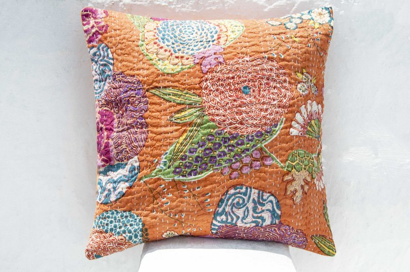 Flower embroidery hug pillowcase cotton pillowcase national wind hug pillowcase - French style orange color flower forest