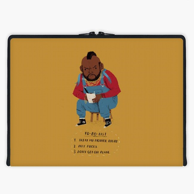 Axis - Custom 3-Sided Zipper Laptop Sleeve - mr t to-do-list