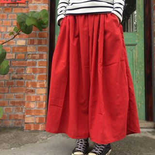 Handmade natural cotton and linen material temperament coral red forest long version of the pocket round skirt