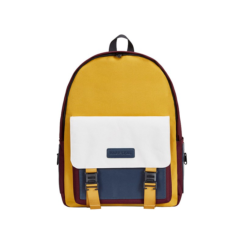 Backpack-anti-theft multi-pocket wine red and yellow