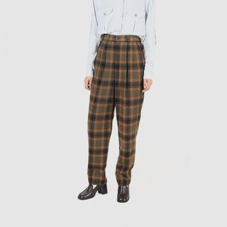 [Egg plant ancient] bitter orange plaid wool vintage old pants