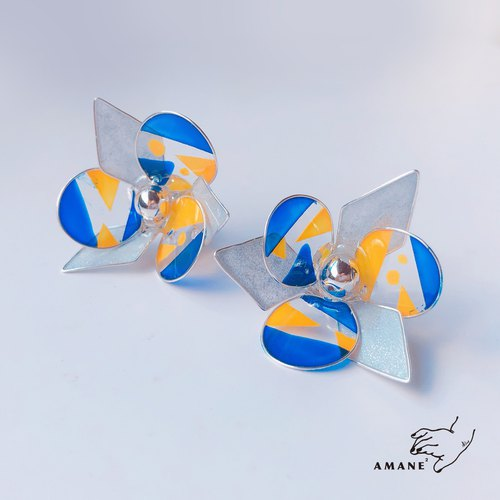 Philosopher  - Hand Made Earrings (Yellow Blue)