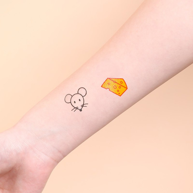 Surprise Tattoos -  Mouse and Cheese Temporary Tattoo