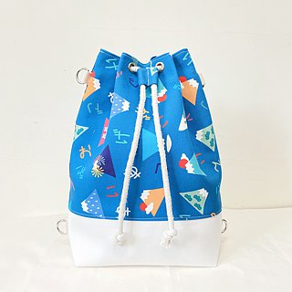 Blue Fuji Mountain 3way beam mouth bucket bag (hand / shoulder / back)