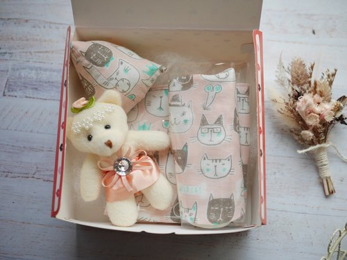 Kitten Moon Gift Box Saliva Towel Handkerchief Triangle Toy Rattle (In stock)