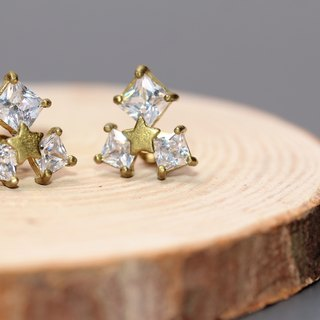 Square Zircon Star Earrings