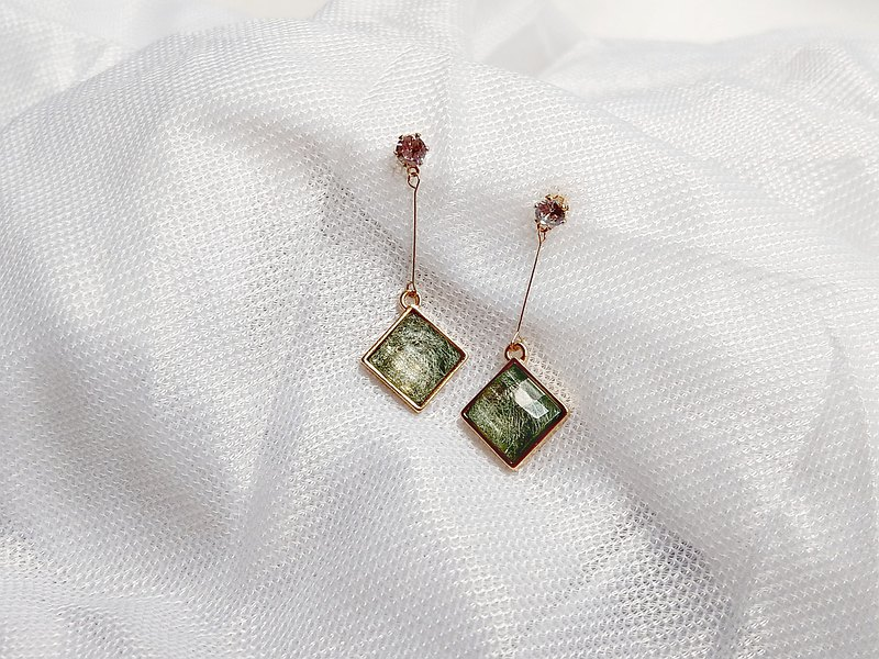 Green silk zircon earrings earrings jewelry silver S925 gold Japanese temperament square crystal diamond treasure