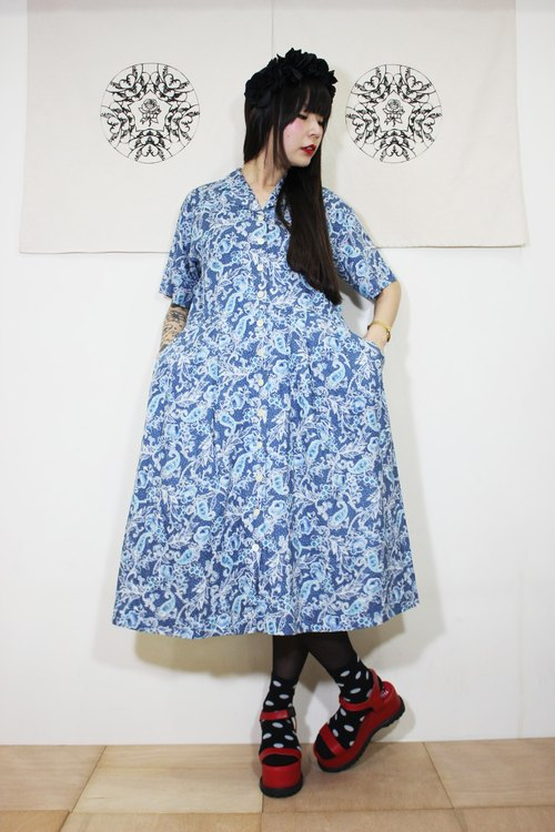 F2052 (Vintage) Blue Petite Flower Double Pocket Cotton Short Sleeve Vintage Dress (Wedding / Picnic / Party)