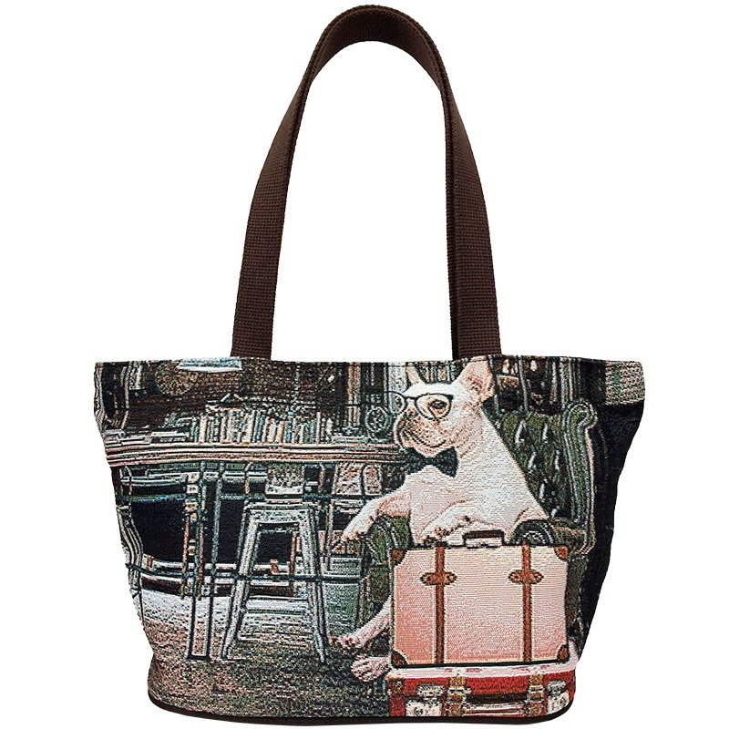 Jacquard weave painting Tote gentleman law bucket coffee