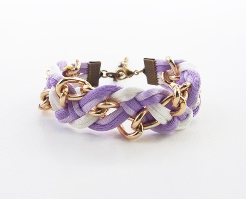 Purple/lilac/white braided with chain bracelet