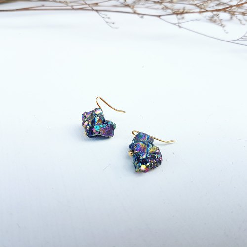 Exclusive [Starry Star Milky Star _ Copper. Handmade. Colorful Quartz Crystal Hole Earrings]