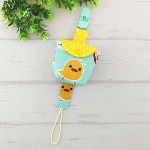 Yellow chicken -3 color optional. Pacifier storage bag + a pacifier chain (40 can increase the embroidered name) (chicken baby)