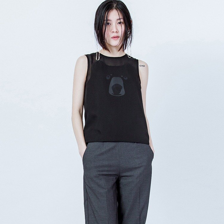 黑熊印花背心 BLACK BEAR FACE PRINTED VEST
