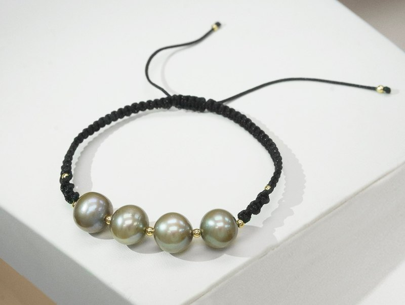 Edith & Jaz • Bronze Freshwater Pearl with Black Cord Bracelet