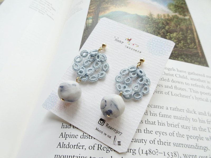 Handmade Tatting Earrings, Lace Earrings, Cotton (Flower)