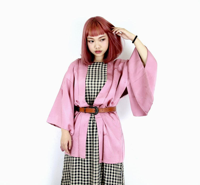 Back to Green-Japan with back feather kimono pink purple ribbon / vintage kimono