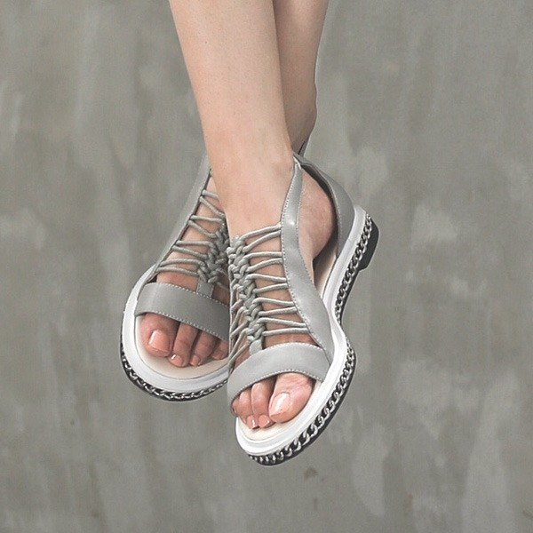 Summer Skeleton Woven Sack Baskets Bars Leather Sandals Gray
