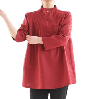 Linen / linen tunic / long sleeve / stand collar / pin-tuck / red / a81-20