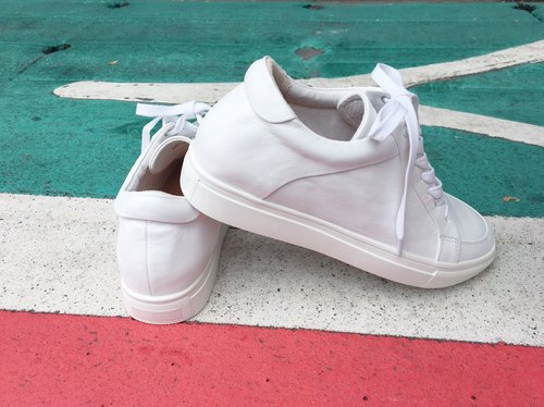 Painting # 8043 || calf leather sole shoes pure white ||