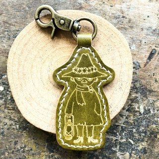 MOOMIN x Hong Kong-made leather Shi Liqi hand-dyed green key ring material package officially authorized Ajin
