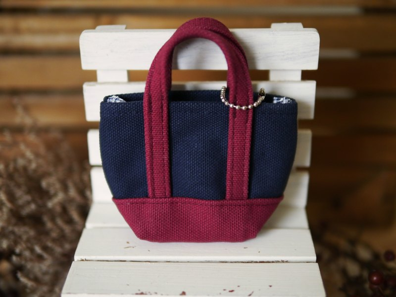 mini classic tote bag strap navy x wine - navy blue wine red -