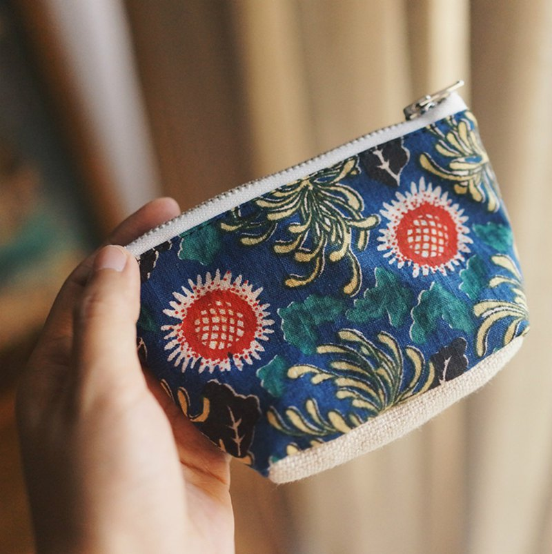 Sun flower and chrysanthemum soil cloth hand-woven cloth storage bag YKK zipper mini wallet limited edition sundries bag