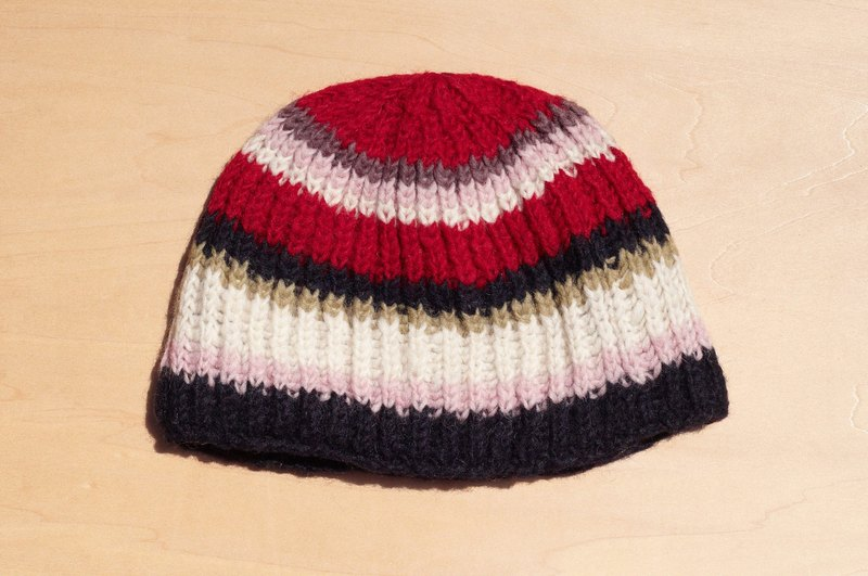 Valentine's Day gift ideas gift hand-woven pure wool hat / knitted caps / bristles hand-woven caps / wool cap (made in nepal) - colored stripes