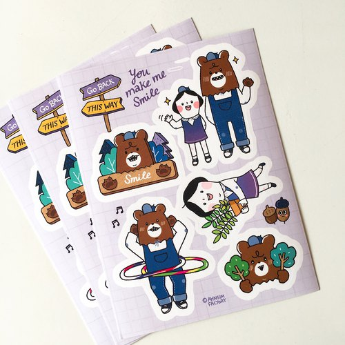 Bear in the woods sticker 02