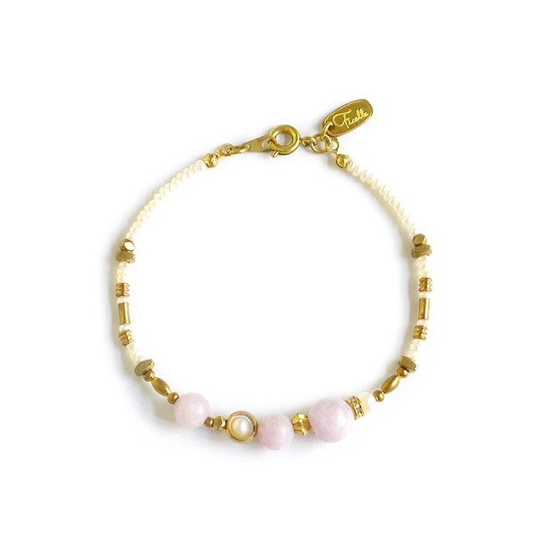 Ficelle | handmade brass natural stone bracelet | [spodumene] imitation of the outline