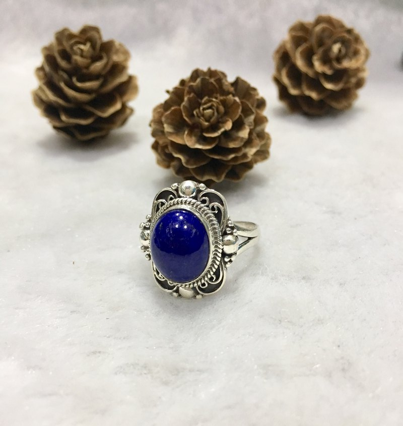 Lapis Ring in butterfly design Handmade in Nepal 92.5