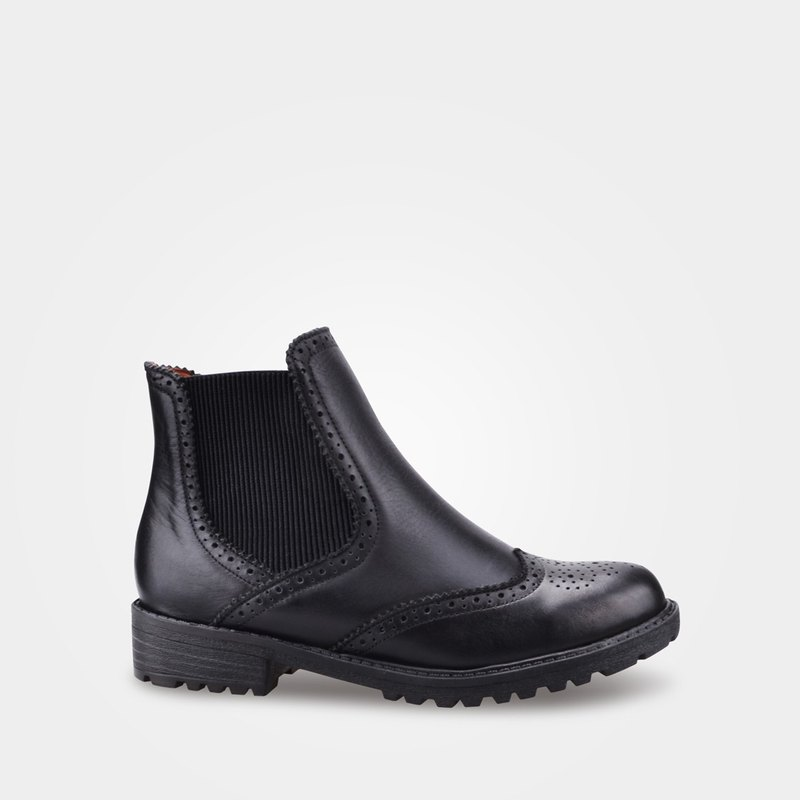 7B57 Black Oxford Engraved Booties